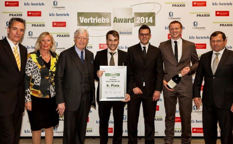 9. Platz Vertriebs-Award 2014 - Autohaus Renck-Weindel